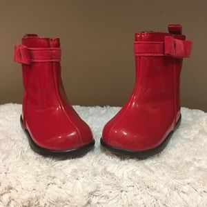 Baby Gap size 3 adorable red boots w/ velvet trim
